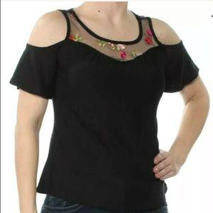 Black Floral Embroidered Cold Shoulder Top XL